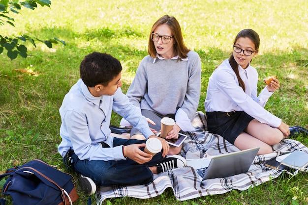 Middelbare scholieren met picknick