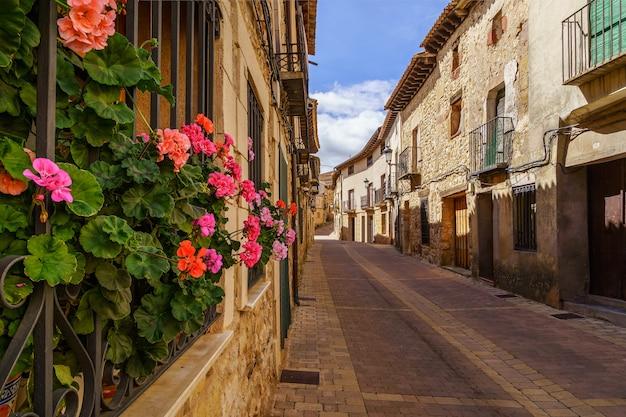 Middeleeuwse oude stad met stenen huizen, oude deuren en ramen, geplaveide straatjes en pittoreske sfeer. atienza, guadalajara, spanje. europa.