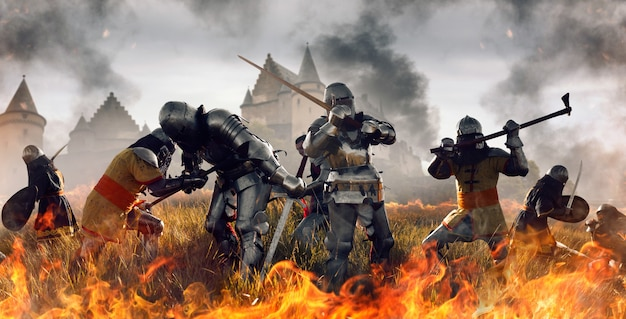 Middeleeuwse strijd van ridders in harnas en helmen met zwaarden en bijlen, geweldige gevechten. gepantserde oude krijgers tegen het kasteel