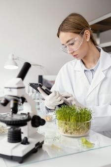 Middelgrote geschoten wetenschapper die in laboratorium werkt
