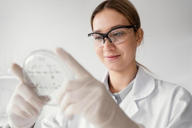 Middelgrote geschoten wetenschapper die petrischaal houdt