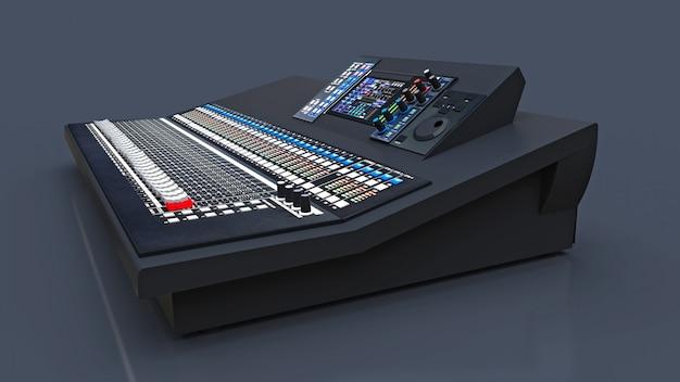 Middelgrote grijze mengpaneel voor studiowerk en live optredens in een grijze ruimte. 3d-weergave.