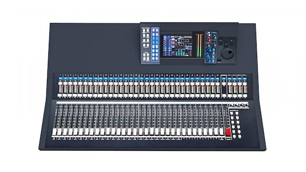 Middelgrote grijze mengpaneel voor werk in de studio en live optredens in een witte ruimte. 3d-weergave.