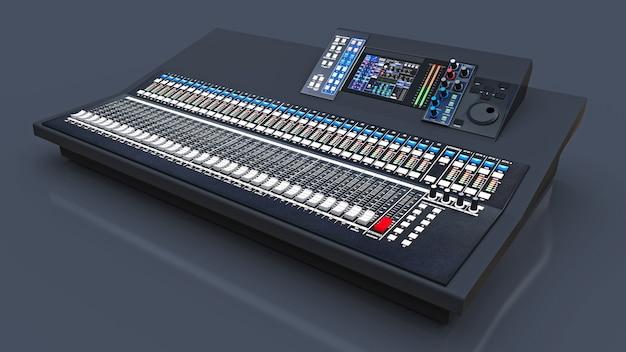 Middelgrote grijze mengtafel voor studiowerk en live optredens op een grijze achtergrond. 3d-weergave.