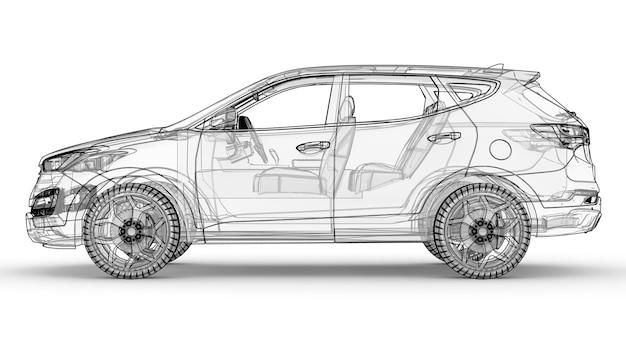 Middelgrote stadscrossover. een illustratie op een witte achtergrond, de auto is omlijnd door lijnen en heeft een doorschijnende carrosserie. 3d-rendering.