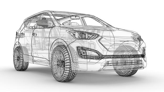Middelgrote stadscrossover. een illustratie op een witte achtergrond, de auto is omlijnd door lijnen en heeft een doorschijnende carrosserie. 3d-weergave.