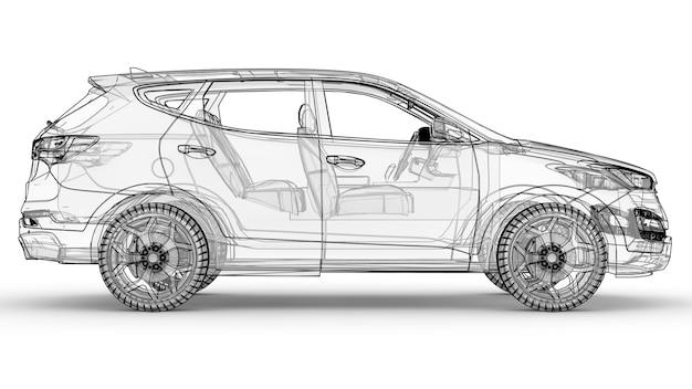 Middelgrote stadscrossover. een illustratie op een witte achtergrond, de auto is omlijnd door lijnen en heeft een doorschijnende carrosserie. 3d-weergave. Premium Foto