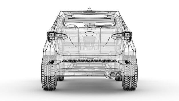 Middelgrote stadscrossover een illustratie op een witte achtergrond waarin de auto wordt omlijnd door lijnen