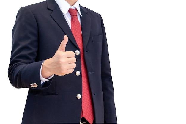 Middellange geschoten bedrijfsmensenlichaam in zwart kostuum met hand duimen omhoog