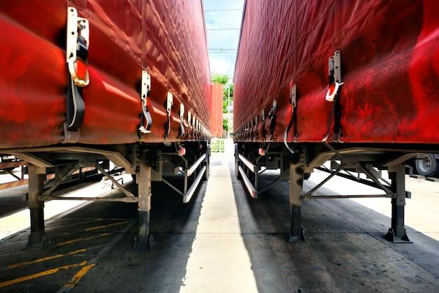 Midden aanhangwagen lading logistiek patroon