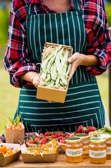 Midsection van de doos van de vrouwenholding met groenten