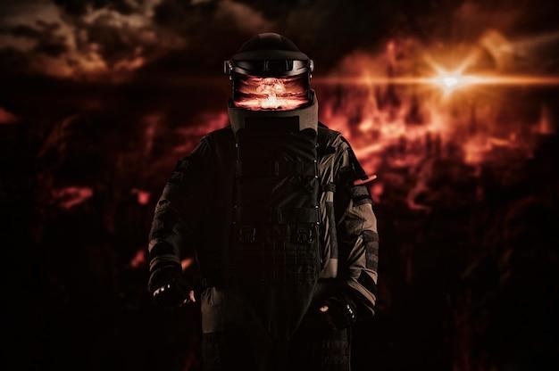 Mijnenveger in een gepantserd pak. het concept van apocalyptische en militaire computerspellen. gemengde media