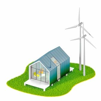 Milieu ecoconcept. bovenaanzicht van een modern klein wit huisje in de stijl van een schuur met een metalen dak op een eiland met windmolens