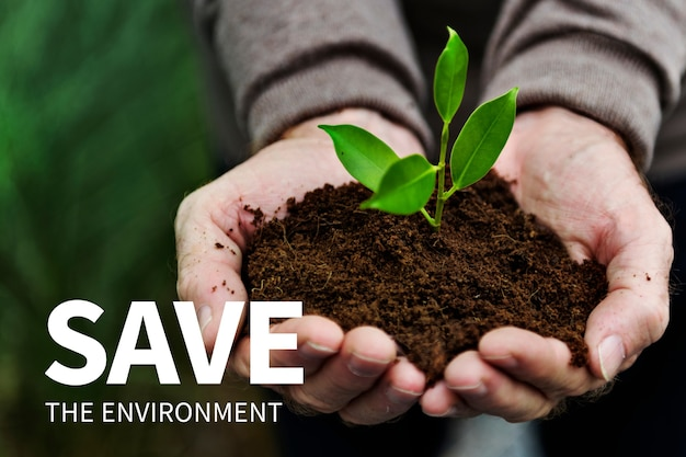 Milieu social media banner met save the environment