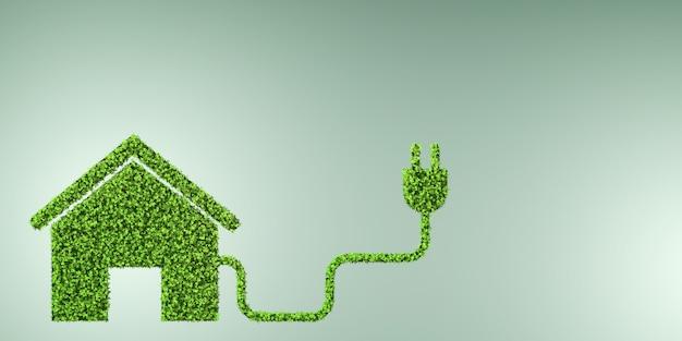 Milieuvriendelijke huisvesting met groen huis - 3d r