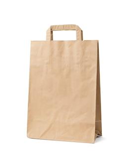 Milieuvriendelijke papieren zak geïsoleerd op een witte achtergrond. milieuvriendelijke winkelcontainer.
