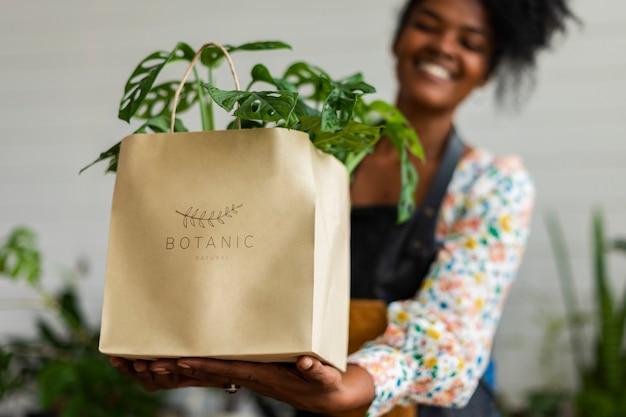 Milieuvriendelijke tas voor plantenwinkel