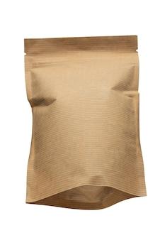 Milieuvriendelijke verpakking, papieren verpakking, tas geïsoleerd op een witte achtergrond.