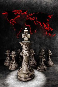 Militair strategieconcept. schaakstukken koning en pionnen in camouflage op de achtergrond van de wereldkaart. 3d illustratie