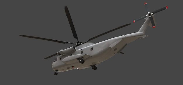 Militair transport of reddingshelikopter op grijze achtergrond. 3d-afbeelding.