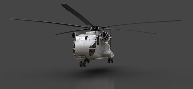 Militair transport of reddingshelikopter op grijze achtergrond