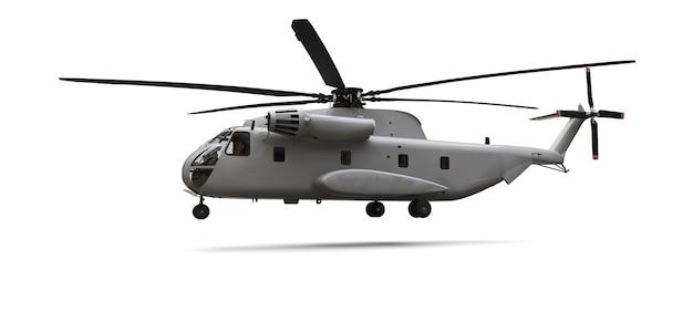 Militair transport of reddingshelikopter op witte achtergrond. 3d-afbeelding.