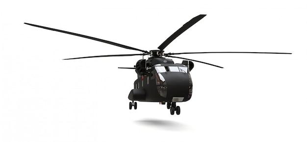 Militair transport of reddingshelikopter op witte ondergrond
