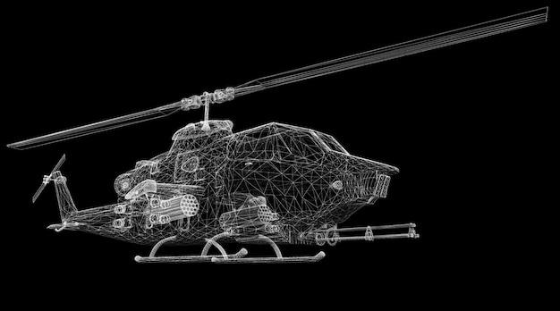 Militaire helikopter 3d-model lichaamsstructuur, draadmodel