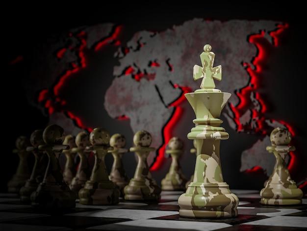Militaire strategie en conflictconcept. schaakkoning en pionnen in camouflage op de achtergrond van de wereldkaart. 3d illustratie