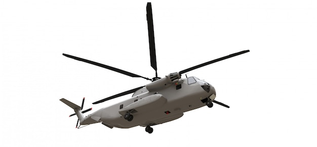 Militaire transport- of reddingshelikopter op witte ruimte. 3d-afbeelding.