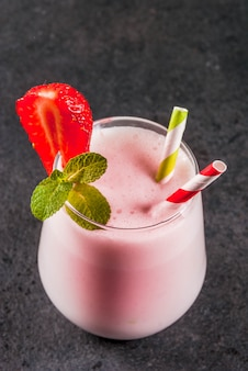 Milkshake met aardbeien