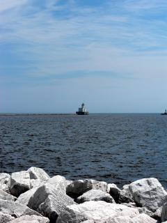 Milwaukee harborfront, michiganmeer, rotsen