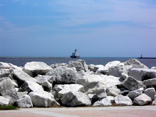 Milwaukee harborfront, vuurtoren, meer