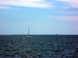 Milwaukee harborfront, water, boot