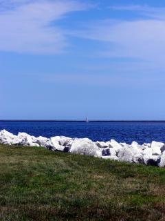 Milwaukee harborfront, zeilboot