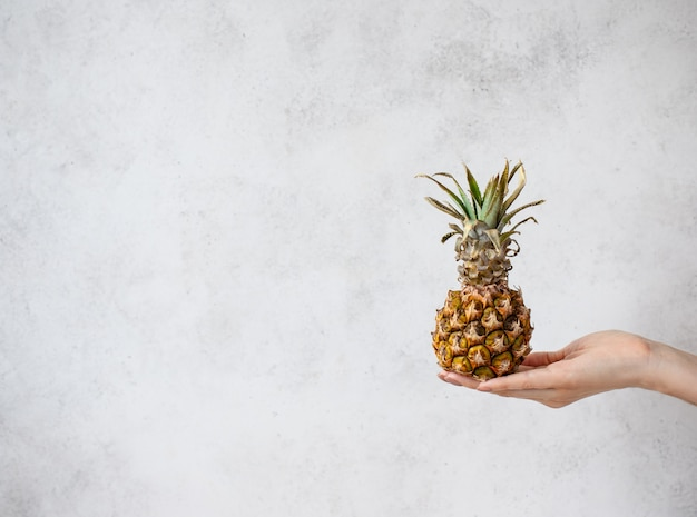 Mini-ananas in een vrouwelijke hand wit oppervlak