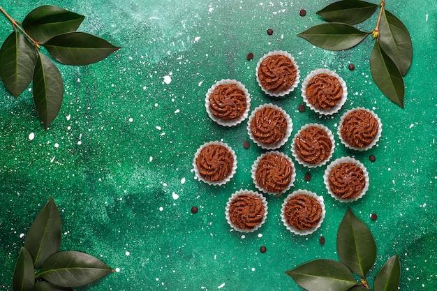 Mini cake truffels met chocolade druppels en cacaopoeder, bovenaanzicht
