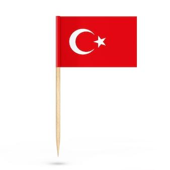 Mini papier turkse aanwijzer vlag op een witte achtergrond. 3d-rendering