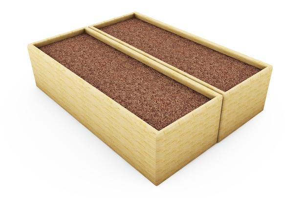 Mini zen-tuin met wit zand, 3d render