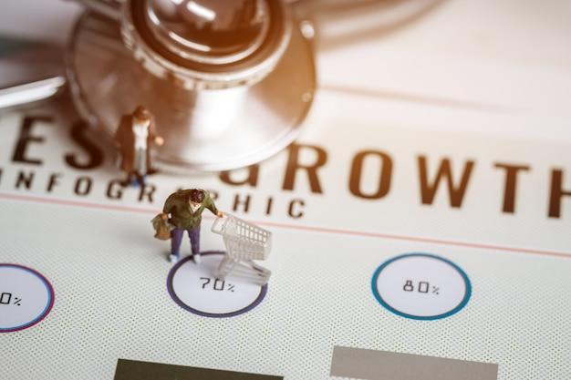 Miniatuur beeldje slijtage masker zakelijke shopper duwt winkelwagentje op papier index.