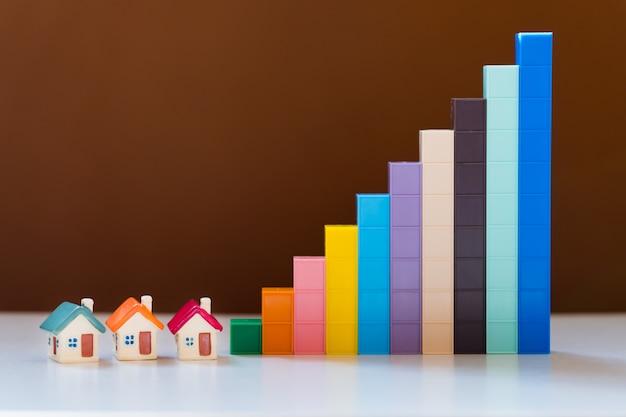 Miniatuur kleurrijk huis met de groeigrafiek die als onroerende goederenbezit gebruiken