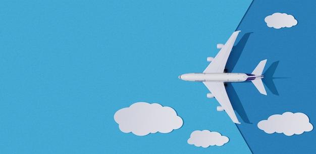Miniatuur speelgoedvliegtuig en wolken