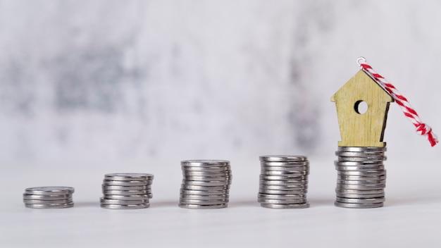 Miniatuur vogelhuisornament over het toenemende gestapeld van zilveren muntstukken