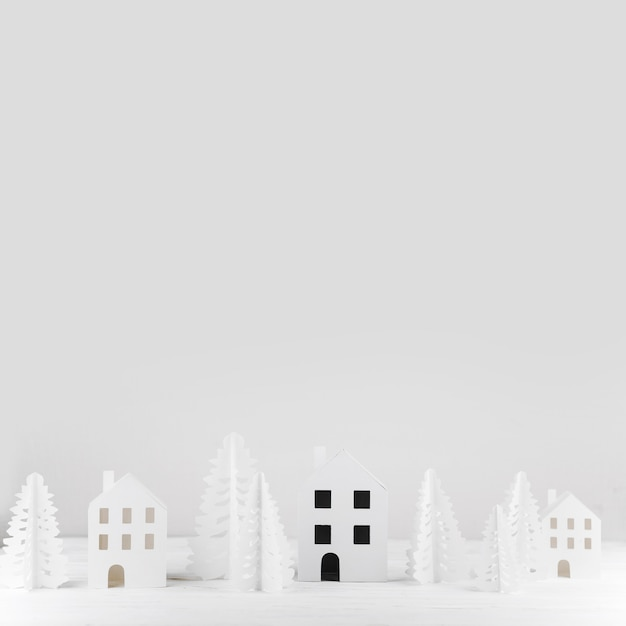 Miniatuur winter speelgoed stad