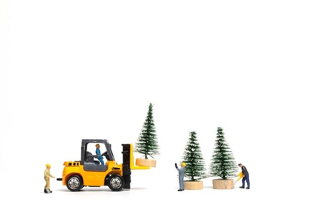 Miniatuurmensen, arbeider die kerstboom op witte achtergrond, kerstmis en gelukkig nieuwjaarconcept voorbereiden.