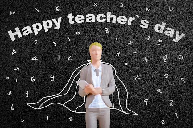 Miniatuurmensen leraar voor bord, het concept van de wereldleraardag