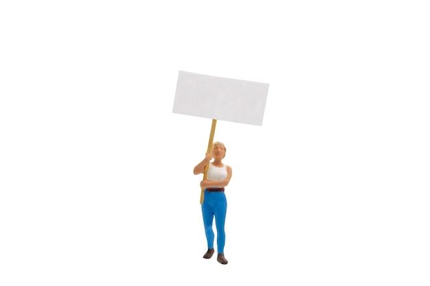 Miniatuurmensen, protesteerder geïsoleerd