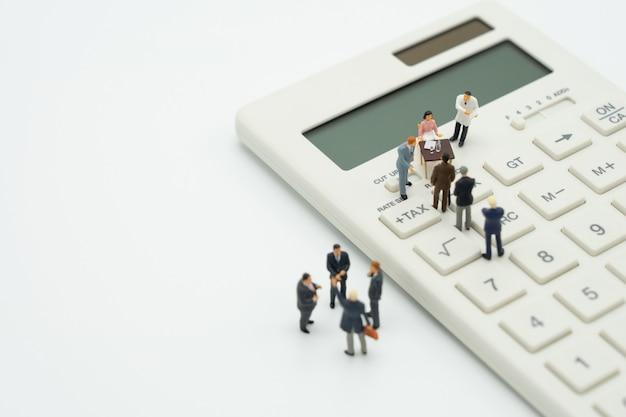Miniatuurpersonen wachtrij jaarlijks inkomen (tax) voor het jaar op rekenmachine.