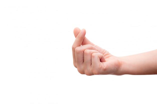 Miniharthand die op witte achtergrond, symbolisch van korea wordt geïsoleerd.