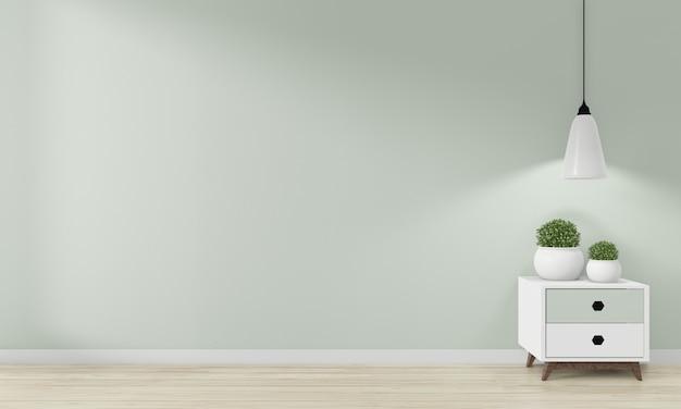 Minikast japan minimaal ontwerp en mock-up decoratie op zen kamer interieurontwerp. 3d rednering